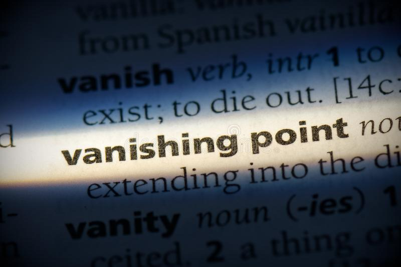 Vanishing point. Word in a dictionary.  concept, definition stock photography