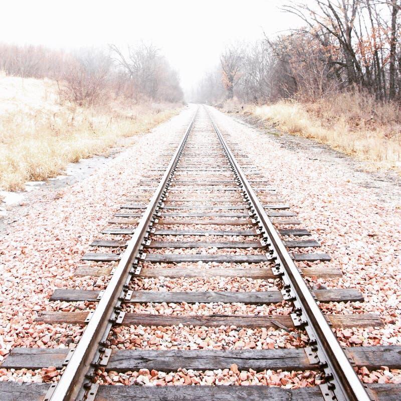 Vanishing train tracks. Train tracks vanishing fog trees stock image