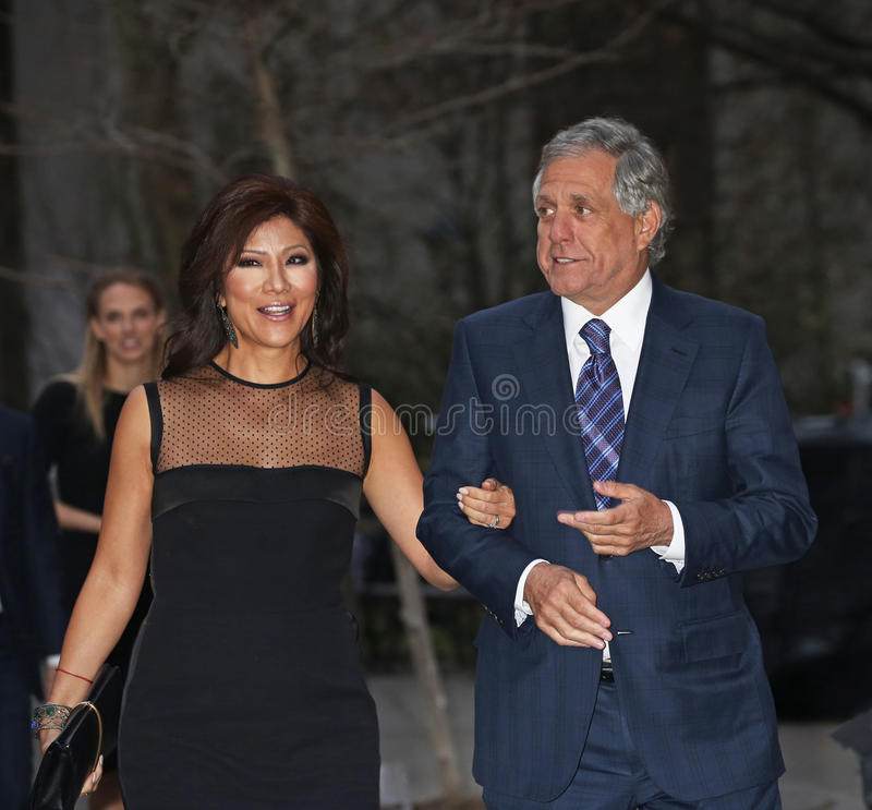 Vanity Fair Party for 14th Tribeca Film Festival. Television personality Julie Chen and husband, CBS head honcho Leslie Moonves arrive on the red carpet at the royalty free stock images