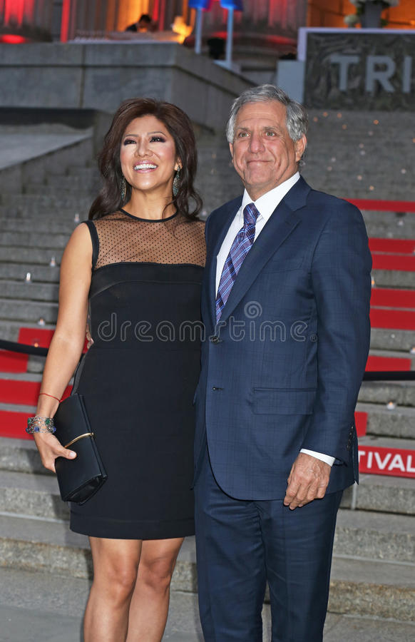 Vanity Fair Party for 14th Tribeca Film Festival. Television personality Julie Chen and husband, CBS head honcho Leslie Moonves arrive on the red carpet at the stock images