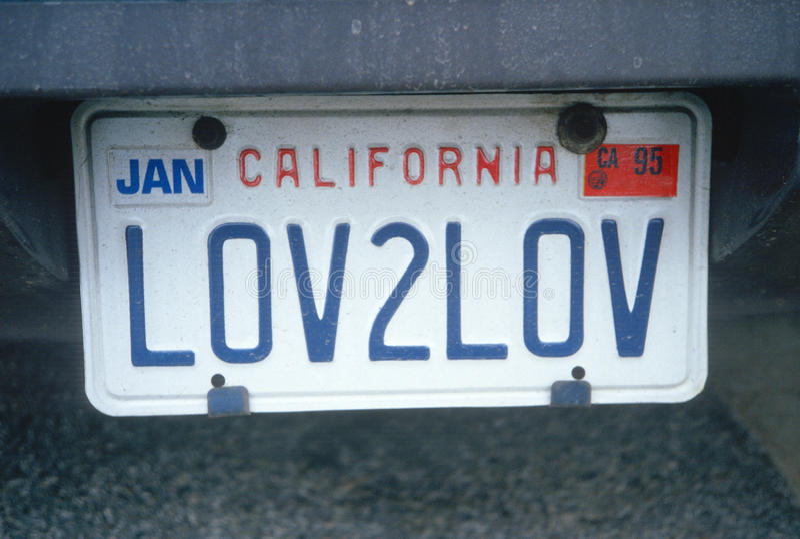 Vanity License Plate - California stock photography