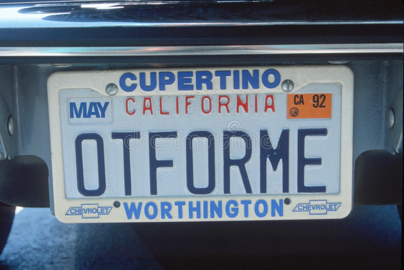 Vanity License Plate - California stock images