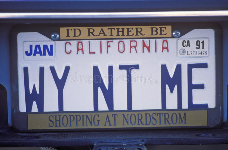 Vanity License Plate - California royalty free stock photography