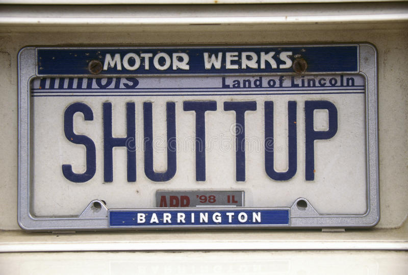 Vanity License Plate - Illinois stock images