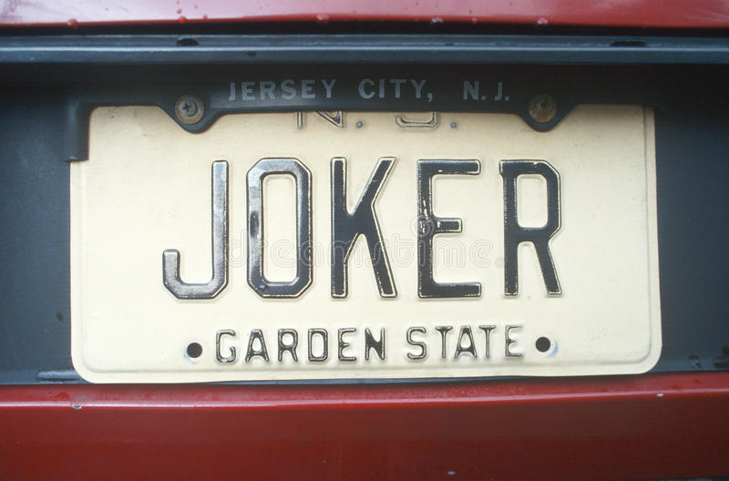 Vanity License Plate - New Jersey stock images