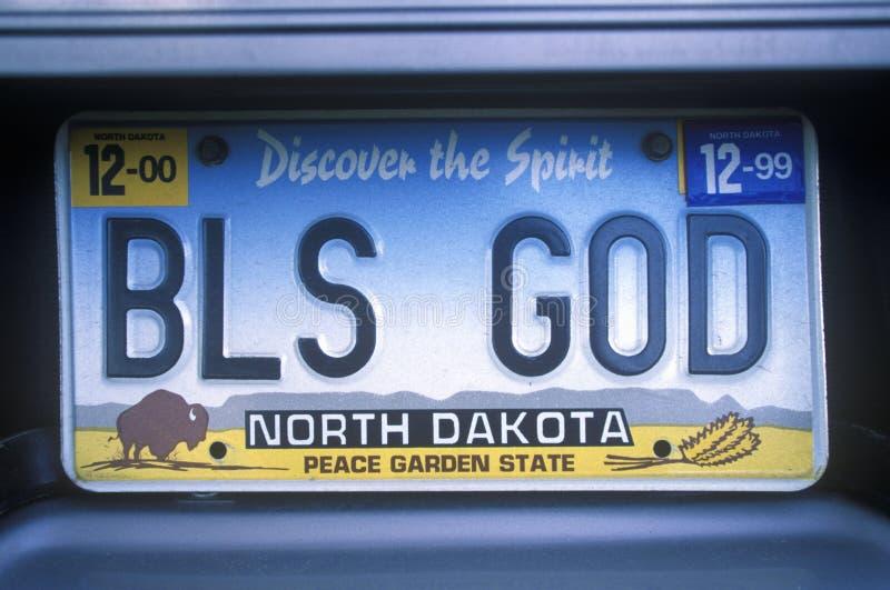 Vanity License Plate - North Dakota stock photo