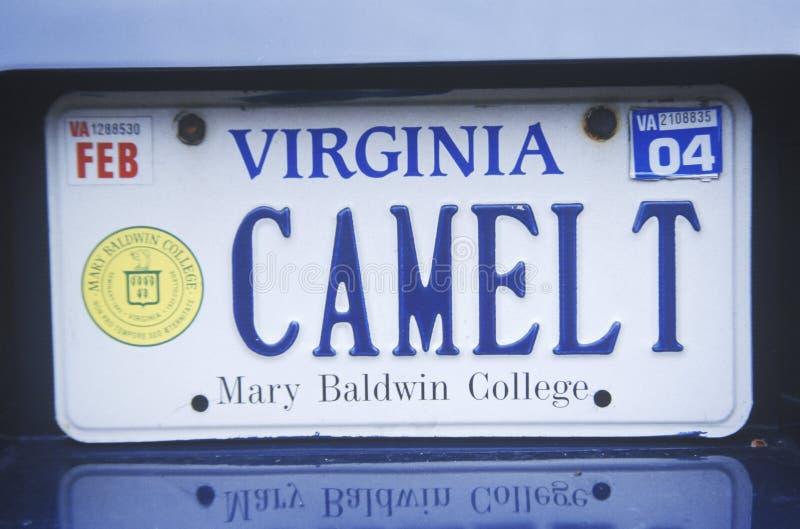 Vanity License Plate - Virginia stock image