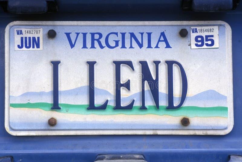 Vanity License Plate - Virginia royalty free stock images
