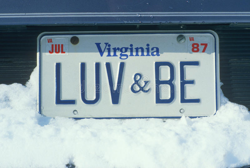 Vanity License Plate - Virginia royalty free stock photography