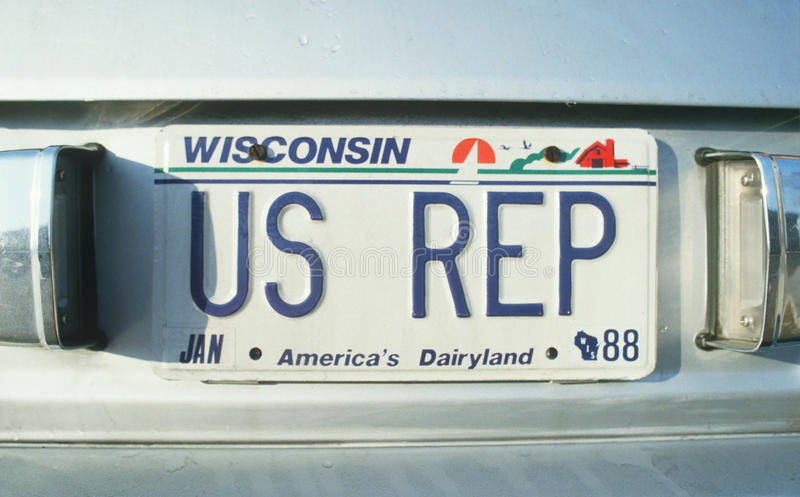Vanity License Plate - Wisconsin stock photography