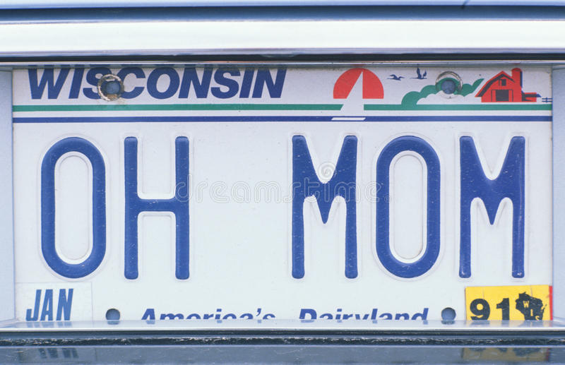 Vanity License Plate - Wisconsin royalty free stock photo