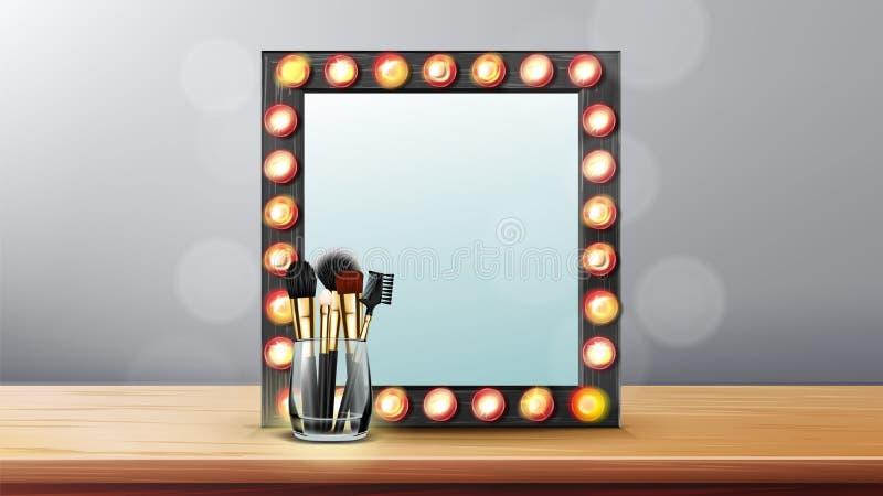 Vanity Mirror Vector. Makeup Vanity Frame. Dressing Woman Concept. Backstage Room. Illustration vector illustration