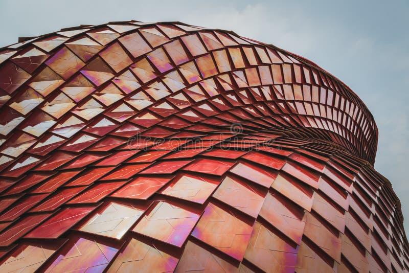Vanke亭子建筑细节商展的2015年在米兰,它 免版税库存照片
