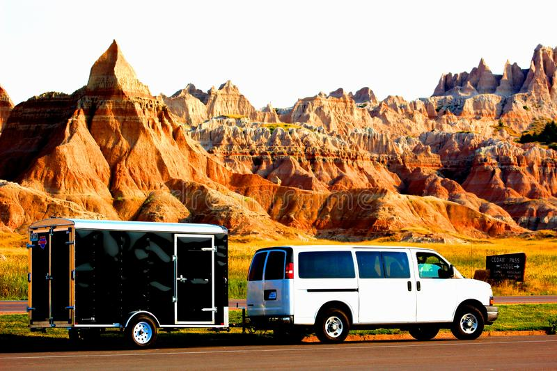 Vanlife rocailleux de paysage de parc national de bad-lands images stock