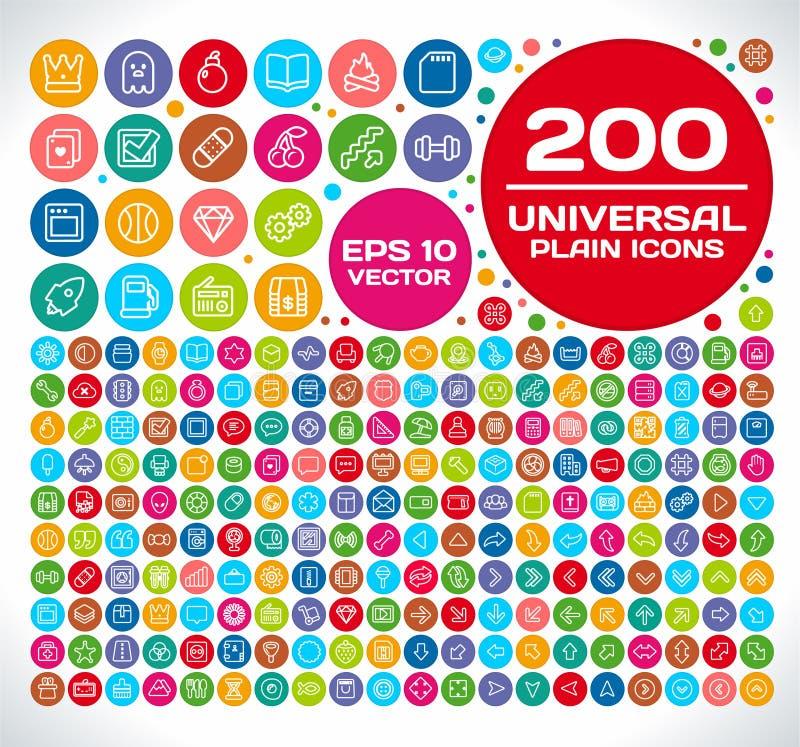 Vanlig symbolsuppsättning 2 för 200 universal vektor illustrationer