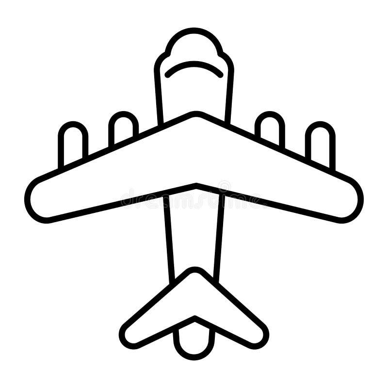 Vanlig tunn linje symbol Flygplanvektorillustration som isoleras på vit Design för flygplanöversiktsstil som planläggs för rengör stock illustrationer