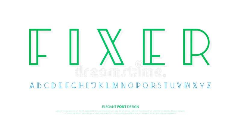 Vanliga alfabetbokstäver design för typ för vektorstilsort Modern bokstäver royaltyfri illustrationer