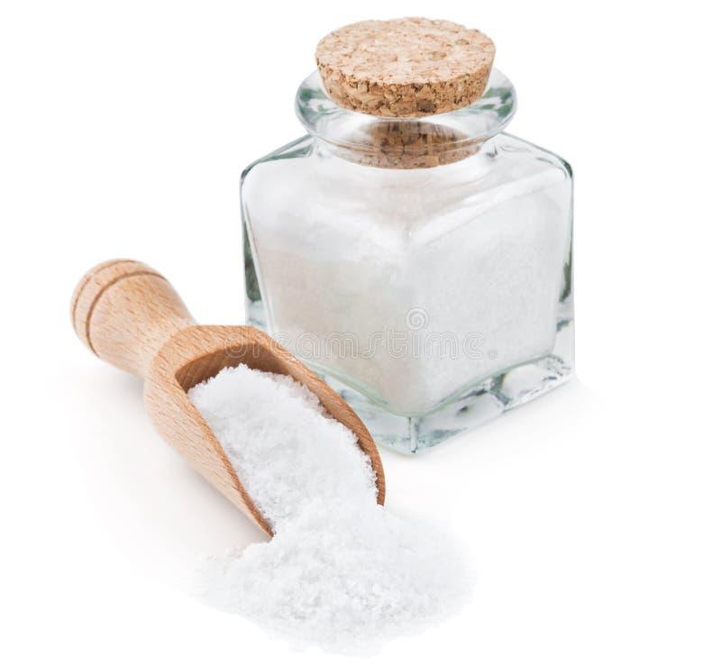 Vanligt salt för tabell i en glasflaska fotografering för bildbyråer