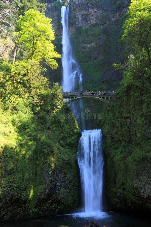 vanmiddag Light op Upper and Lower Multnomah Falls, Columbia River Gorge, Portland, Oregon, VS stock foto