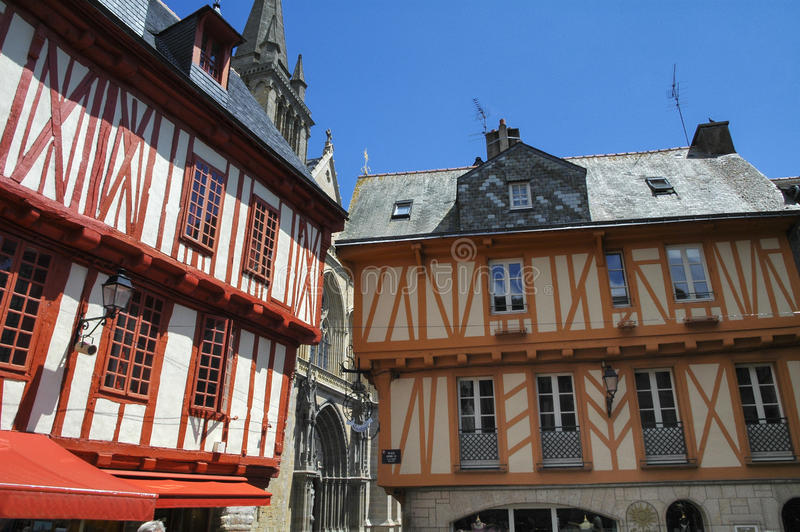 Vannes (Brittany). Vannes (Morbihan, Brittany, France): old typical half-timbered buildings royalty free stock photo
