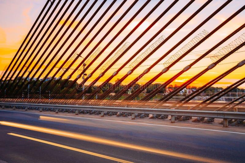 Vansu桥梁在里加,拉脱维亚 寿衣桥梁 电缆坚持的桥梁 图库摄影