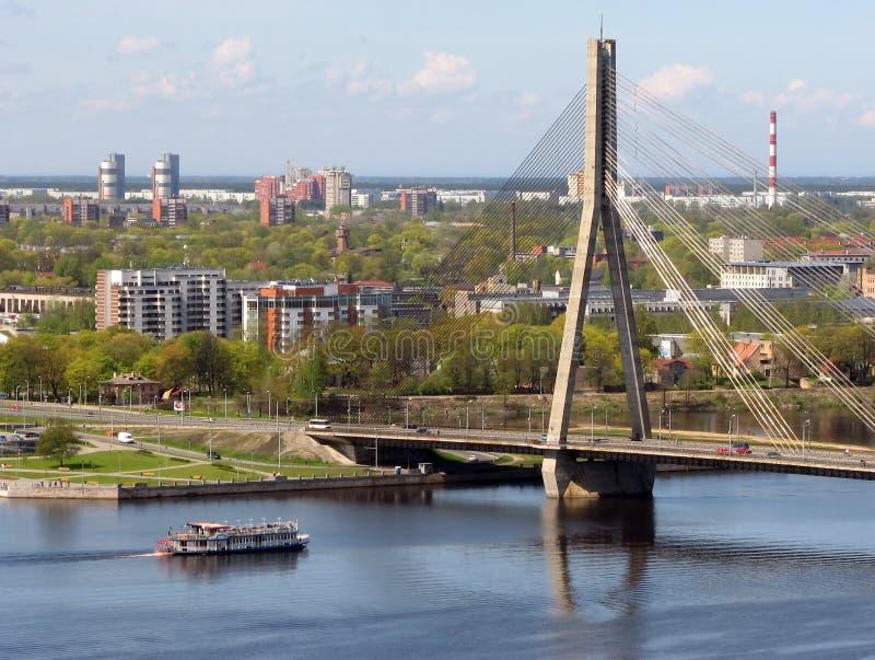 Vansu Bridge over Daugava stock photography