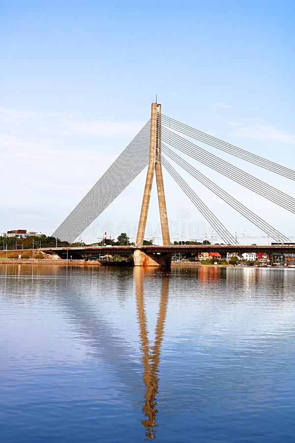 The Vansu Bridge in Riga is a cable-stayed bridge that crosses the Daugava river in Riga, Latvia stock photos