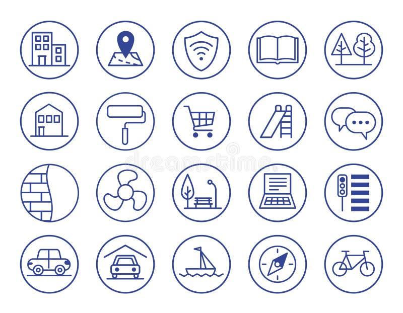 Vantaggi di alloggi nuovi Icone impostate fotografia stock