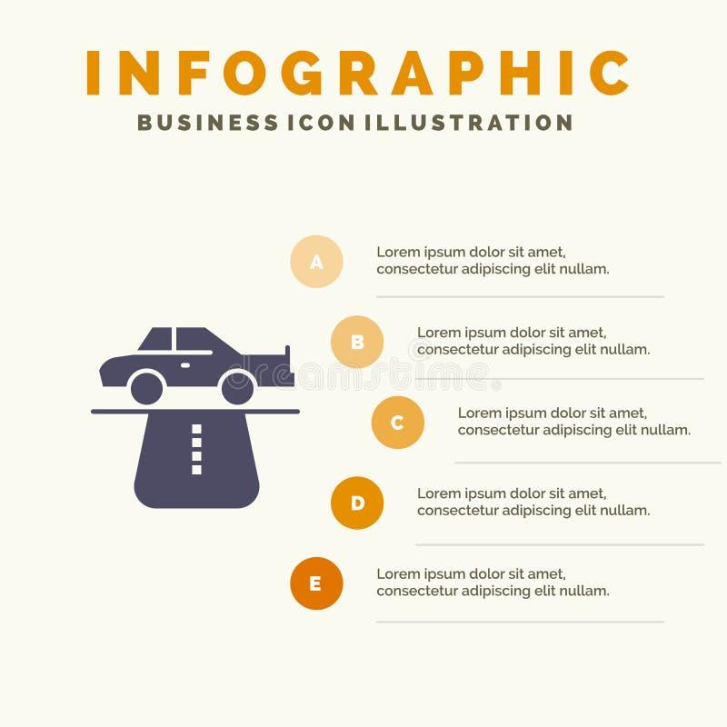 Vantaggio, autorità, automobile, tappeto, fondo solido di presentazione di punti di Infographics 5 dell'icona di comodità illustrazione vettoriale