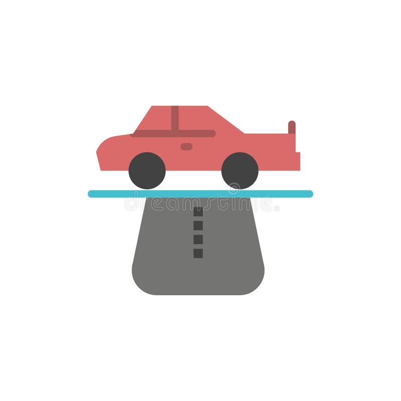 Vantaggio, autorità, automobile, tappeto, icona piana di colore di comodità Modello dell'insegna dell'icona di vettore illustrazione di stock