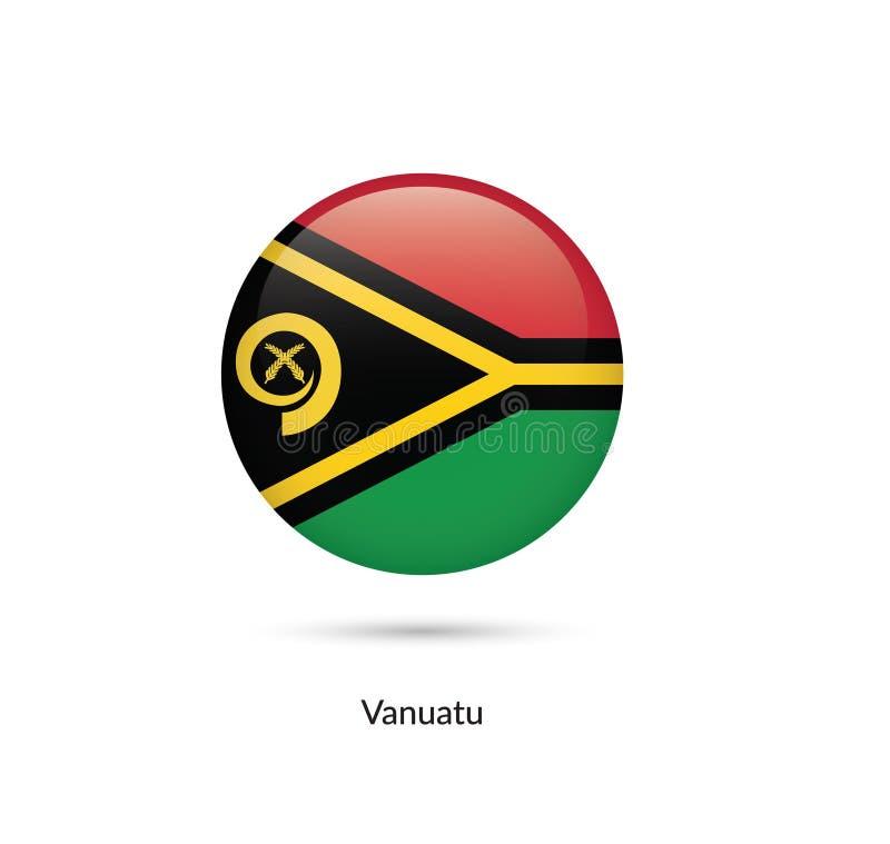 Vanuatisk flagga - rund glansig knapp vektor illustrationer