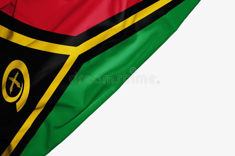 Vanuatu flag of fabric with copyspace for your text on white background. South banner best black capital colorful competition country ensign free freedom glory stock illustration