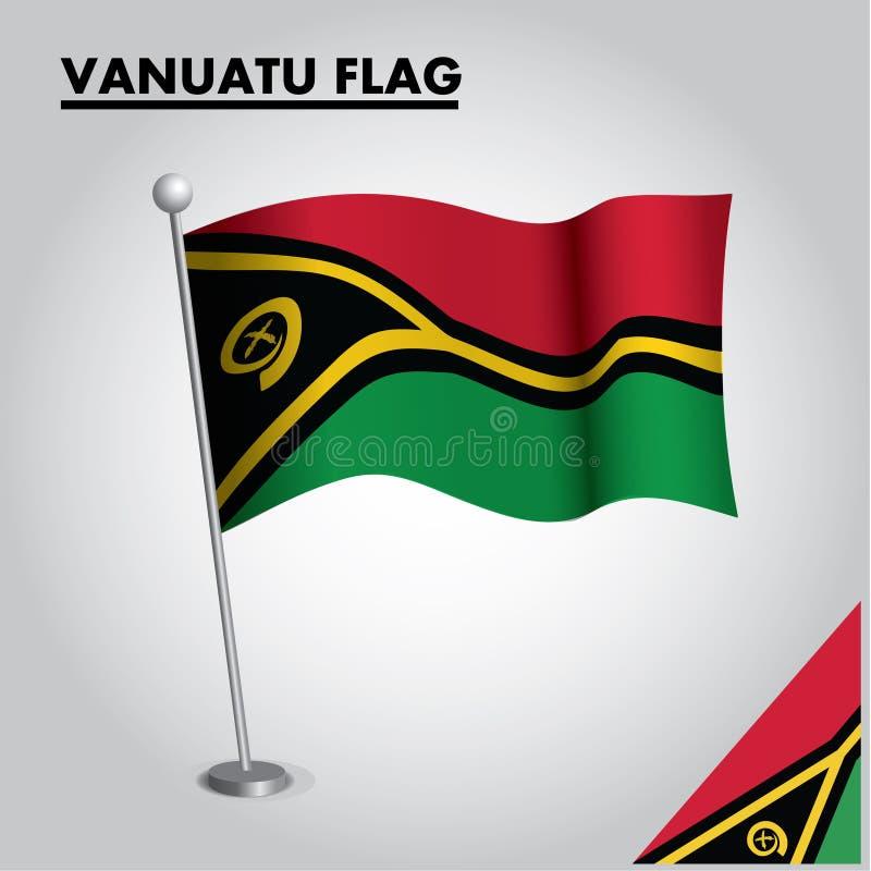 VANUATU flag National flag of VANUATU on a pole vector illustration