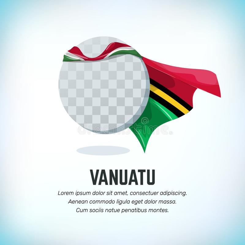 Vanuatu flag. Round flying template with national color cloak. Can be used with logo or mascot. Use for sport or vector illustration