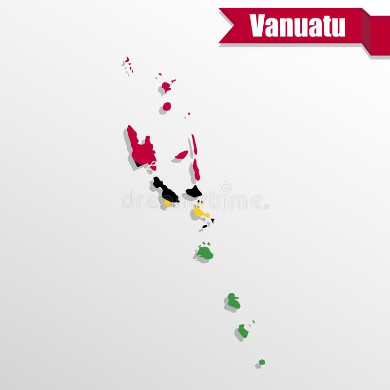 Vanuatu Map With Flag Inside And Ribbon Stock Illustration - Vanuatu map download