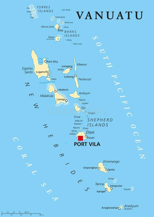 Vanuatu Political Map stock vector Illustration of port 74640749