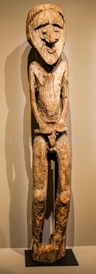Vanuatu sculpture at Montreal Museum. Polynesian traditional sculpture, which inspired Picasso, at Montreal Museum of Fine Arts stock image