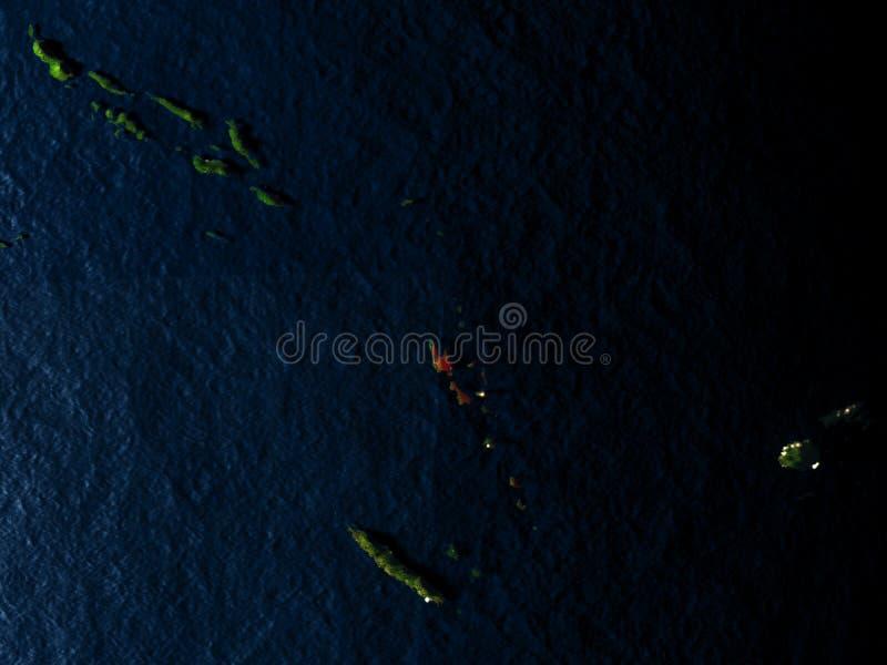 Vanuatu w czerwieni od przestrzeni przy nocą ilustracji