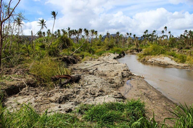 Vanuatu-Wirbelsturm und -fluten im Jahre 2014 stockbild