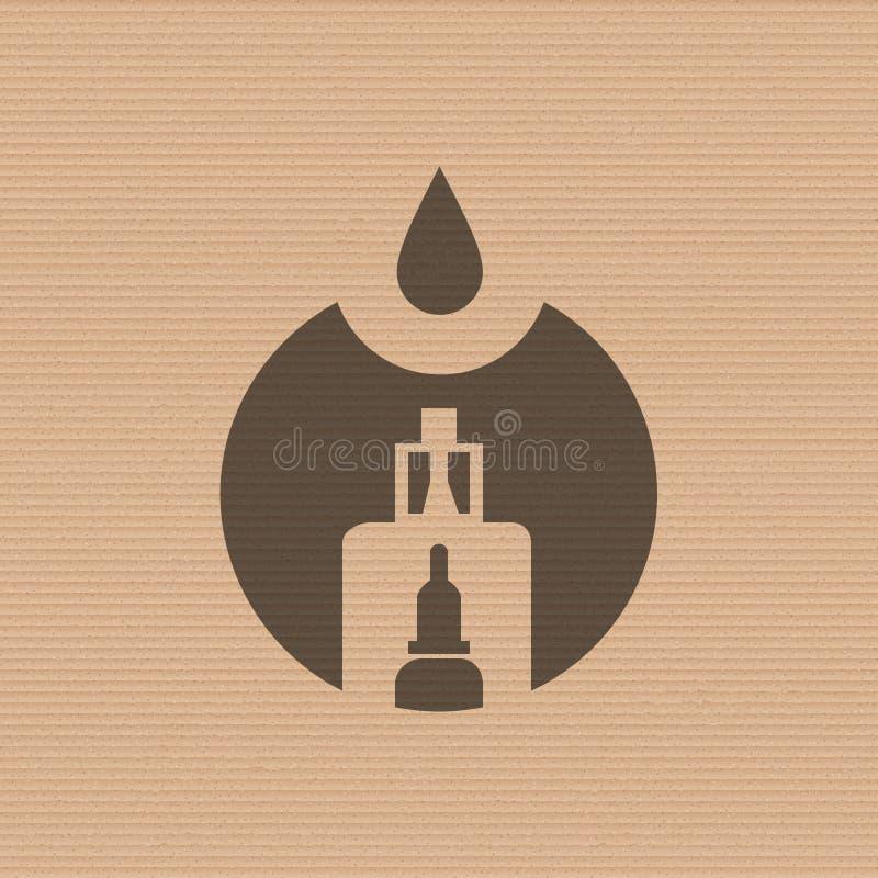 Vape商店商标在纸板纹理背景的模板设计 E香烟和e液体瓶邮票或T恤杉 库存例证