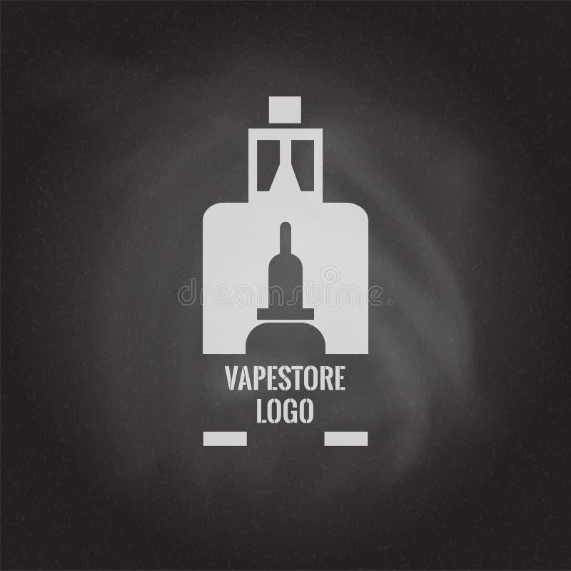 Vape商店商标在黑板背景的模板设计 E香烟和e液体瓶盖印或T恤杉印刷品 库存例证