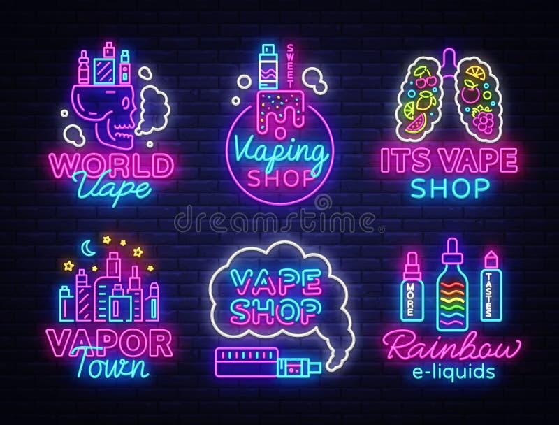 Vape商店商标汇集氖传染媒介 Vape霓虹灯广告集合,概念性象征设计在电子的题材的模板 库存例证