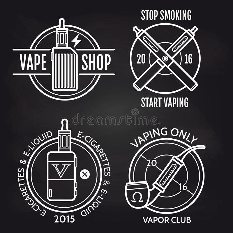 Vape商店在黑板的商标设计 皇族释放例证