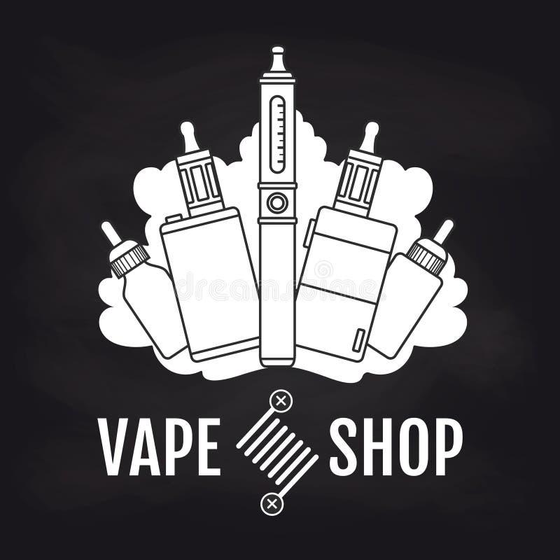 Vape商店在黑板的象征设计 皇族释放例证