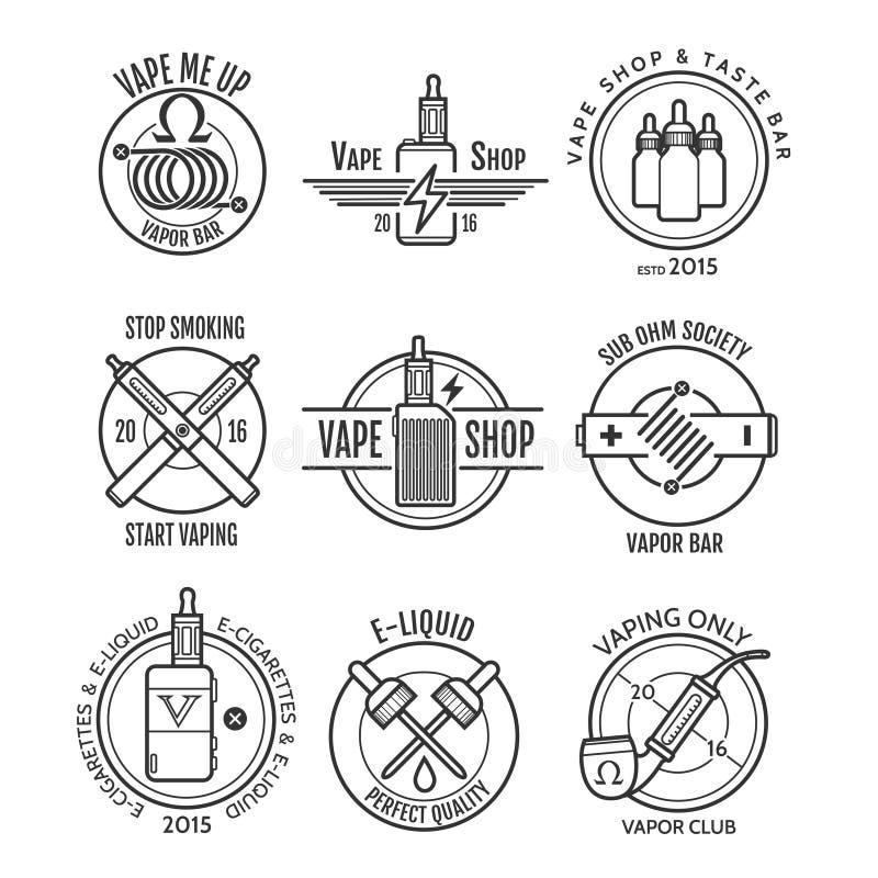 Vape商店标签和蒸气酒吧商标 皇族释放例证