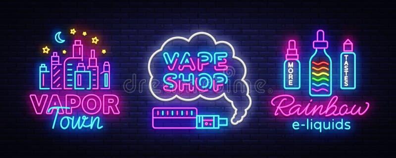 Vape商店霓虹灯广告汇集传染媒介 Vaping商店商标设置了象征氖,它的Vape商店概念蒸气镇,彩虹E 向量例证