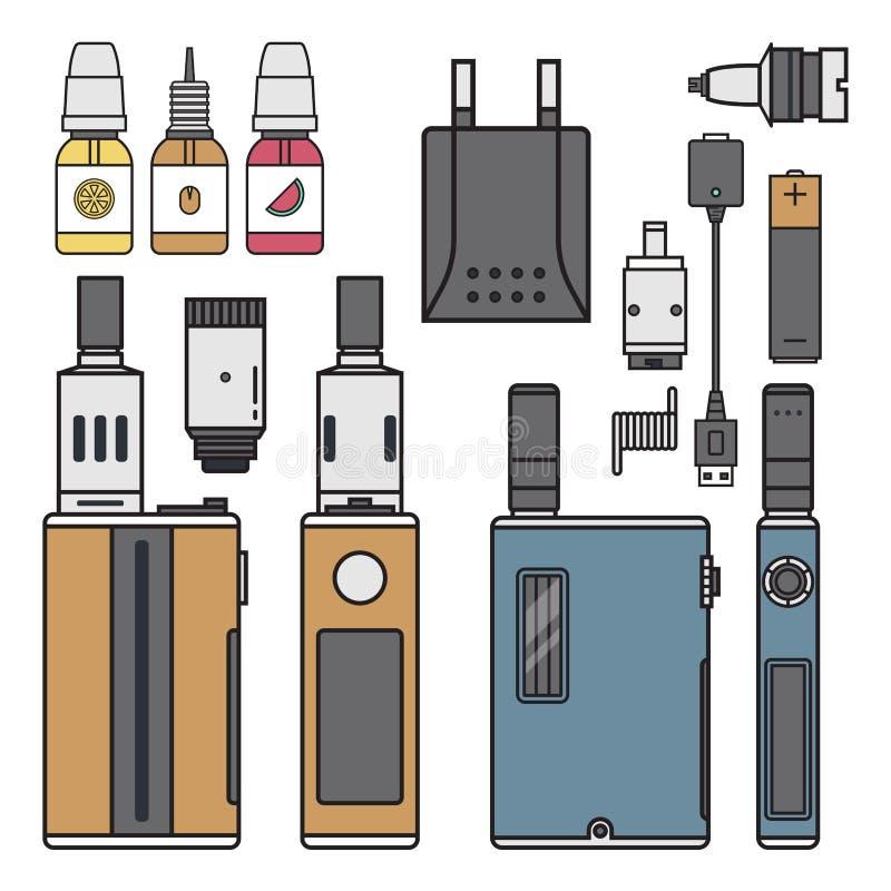 Vape设备传染媒介香烟蒸发器蒸气汁液vape瓶味道例证电池卷电子尼古丁 皇族释放例证