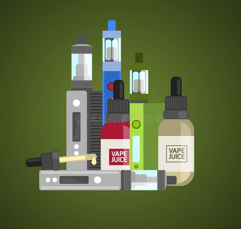 Vape设备传染媒介集合 vape的Vaping汁液 Vape趋向新的古芝 向量例证