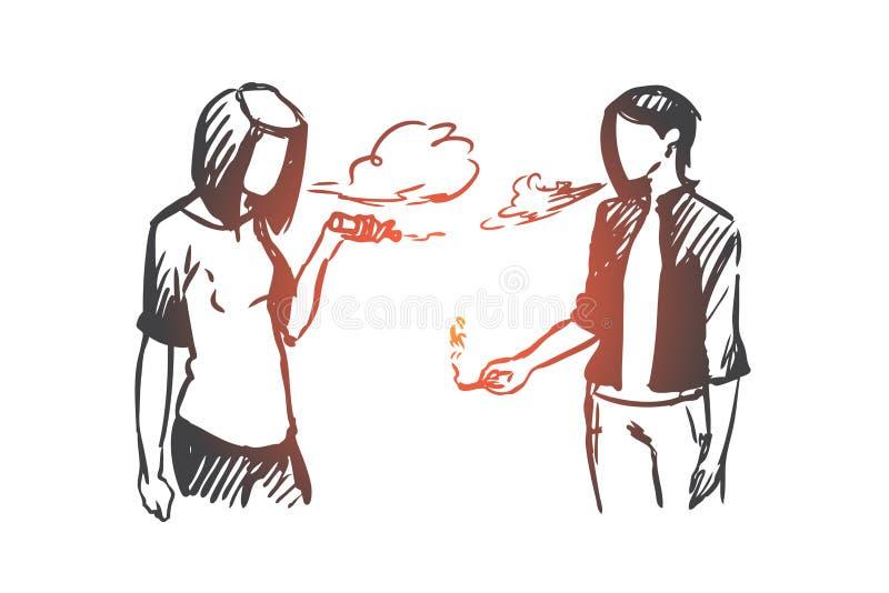 Vape, e香烟,女孩,烟概念 手拉的被隔绝的传染媒介 向量例证