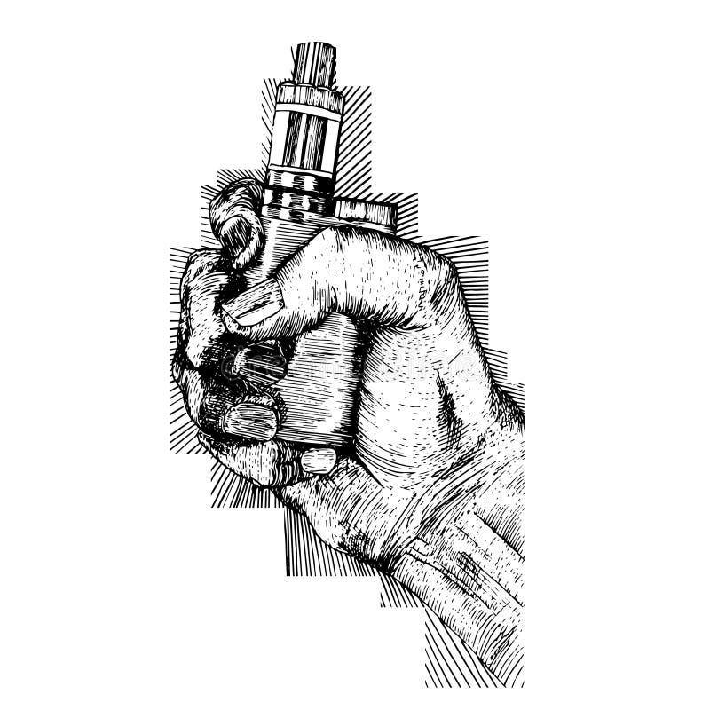 Vape cigarette in hand royalty free illustration